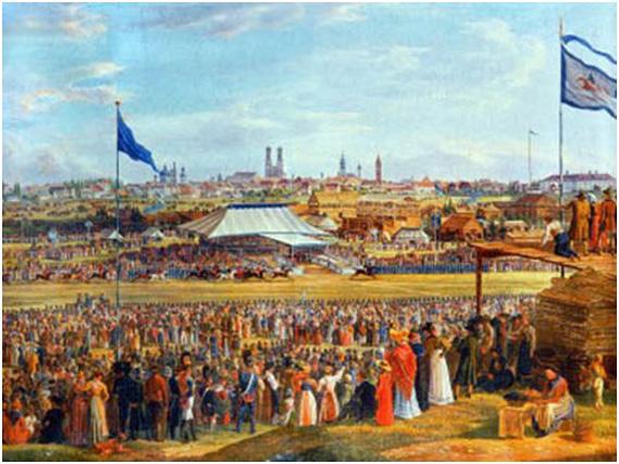 Das Oktoberfest von 1823. Ein Gemälde von Heinrich Adam