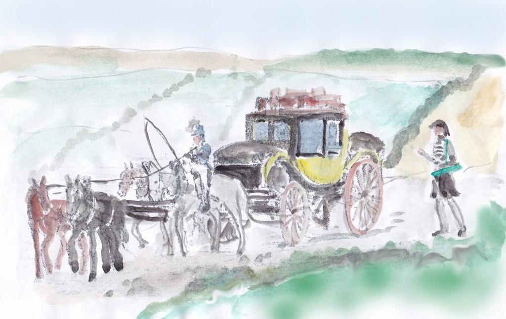 Post kutschen sind langsam. Chamisso läuft – nach Pflanzen Ausschau halten – der Kutsche oft hinterher oder auch vorneweg.