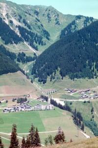 Vegetationszonierung im Vorderrheintal bei Sedrun