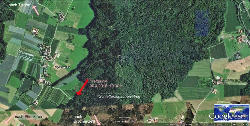 Treffpunktam 30.4.2016, ca. 300 m von Appenweiler Richtung Brochenzell, Waldparkplatz links (Schletterschachen-Weg)
