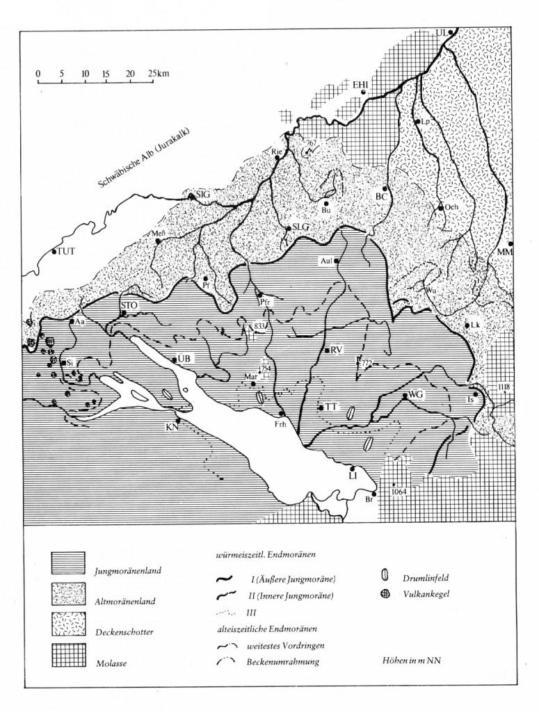 Geologie Oberschwabens (aus Köhler, A.: Vom Wesen und Werden der oberschwäbischen Landschaft. In Ott, St. (Hrsg.), 1971: Oberschwaben. Otto Maier Verlag Ravensburg