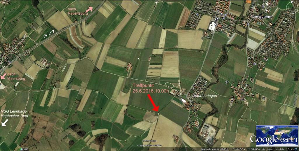 Treffpunkt am 25.6.2016, am Wanderparkplatz bei Unterteuringen (Richtung Modellflugzeugplatz)