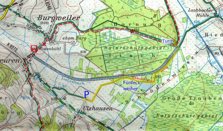 Unser Exkursionsweg zum Fünfeckweiher und zum Beobachtungsturm (Ausschnitt aus L 8122)