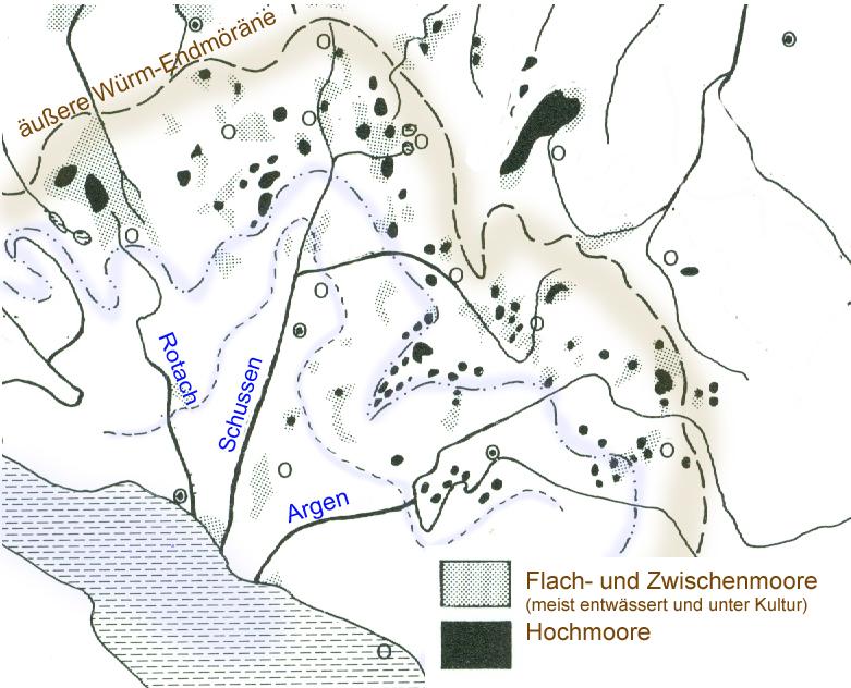 Lage der Jungmoräne und oberschwäbische Zuflüsse zum Bodensee