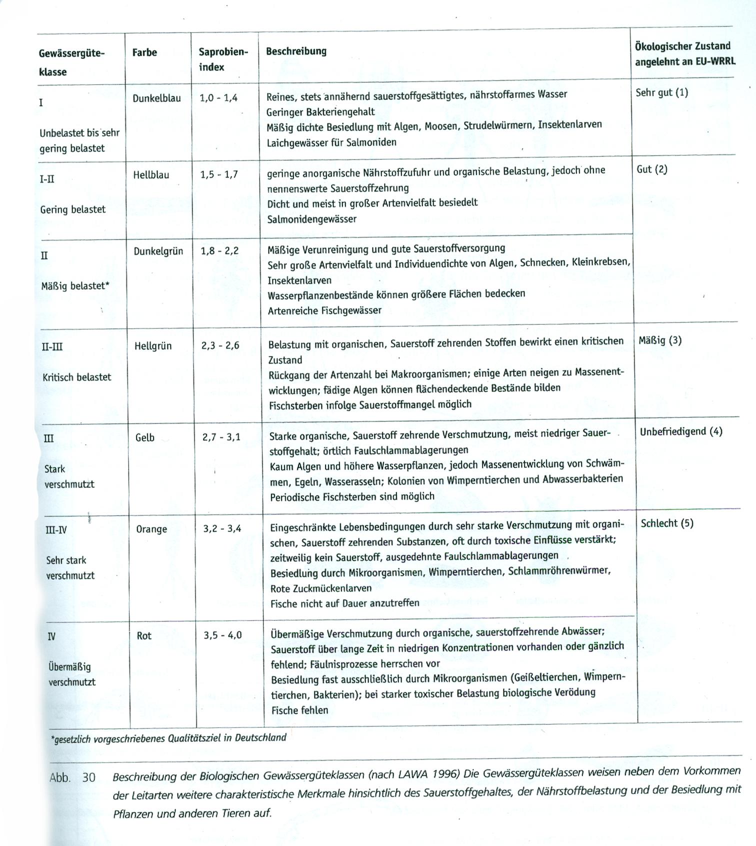 Gewässergüteklassen (aus Graw, M. (2001): Ökologische Bewertung von Fließgewässern. VDG Bd.64