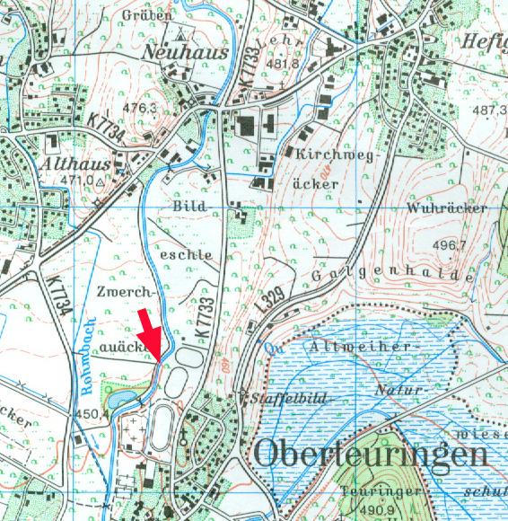 Untersuchungsgebiet an der Rotach, Ausschnitt aus TK 1:25000, Blatt8222 Markdorf