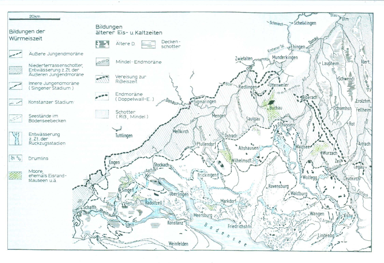 Eiszeitliche Bildungen im voralpinen Vereisungsgebiet von Oberschwaben (aus Geyer, O.F./Gwinner. M.P.: Geologie von Baden-Württemberg, Stuttgart 1986)